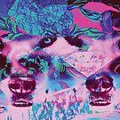 Wolf Wilderness Diamond Floral Print Pink & Purple by huliodoyle