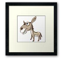 Happy Donkey Cartoon Character Framed Print