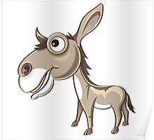 Happy Donkey Cartoon Character Poster