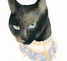 Friday the 13th Pt1: Unlucky Fancy Black Cat Portrait by Anila Tac