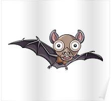Flying Bat Cartoon Character Poster