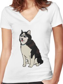 Staring Husky Women's Fitted V-Neck T-Shirt