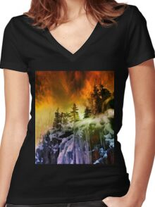 The Sky Was On Fire Women's Fitted V-Neck T-Shirt