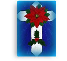 Poinsettia Cross Canvas Print