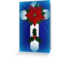 Poinsettia Cross Greeting Card
