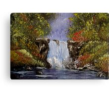 Miniature Waterfall - oil painting Canvas Print