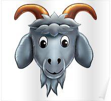 Happy Goat Cartoon Character Poster