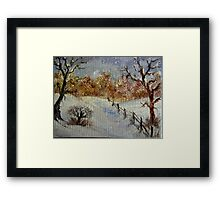 Miniature Snowscape - Oil painting Framed Print
