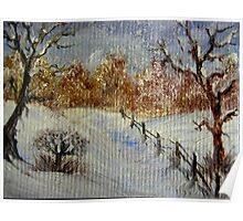 Miniature Snowscape - Oil painting Poster