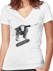 Sketchy Flip Women's Fitted V-Neck T-Shirt