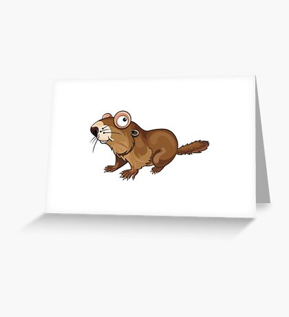 Groundhog Cartoon Character Greeting Card