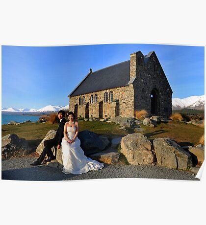 Church Of The  Good Shepherd. Tekapo, South Island, New Zealand Poster
