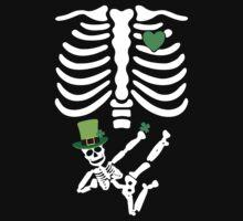 Pregnant Leprechaun Skeleton T Shirt St. Patrick's Day  by designbymike