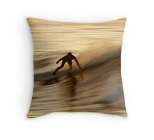 Surfing on Gold Water Throw Pillow