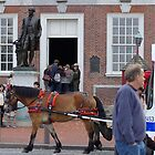 horse pulling bus in front of independence hall by Patrick Bodner