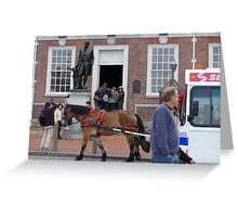 horse pulling bus in front of independence hall Greeting Card