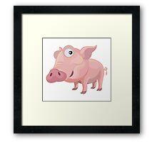 Happy Pig Cartoon Character Framed Print
