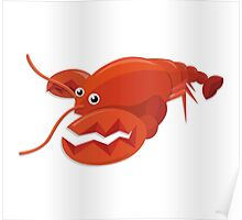 Red Lobster Cartoon Character Poster