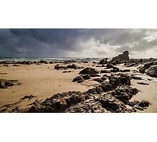Stormy Sky at Sandy Beach Photographic Print
