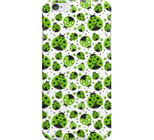 Green Ladybugs and Red Flowers iPhone Case/Skin