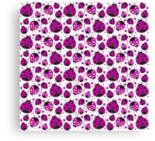 Pink Ladybugs and Pink Flowers Canvas Print