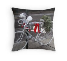 Holiday Ghost Bike Throw Pillow