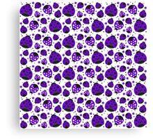 Purple Ladybugs and Purple Flowers Canvas Print