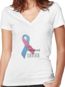 I am a {babyloss} SURVIVOR Women's Fitted V-Neck T-Shirt