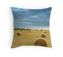 Hay Bales in Field with Stormy Sky Throw Pillow