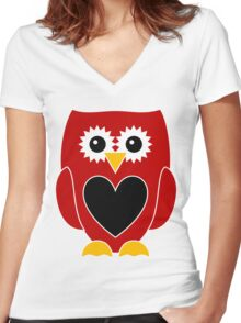 Red Owl Black Heart on Belly Women's Fitted V-Neck T-Shirt