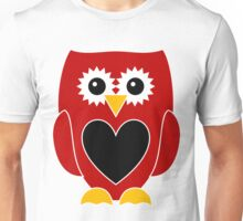 Red Owl Black Heart on Belly Unisex T-Shirt