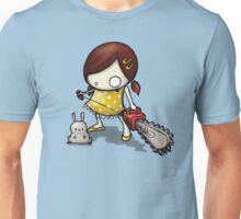 little Girl, rabbit and chain saw Unisex T-Shirt