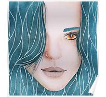 Girl with blue hair. Poster