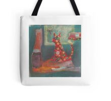 Red kitty thinking about lunch Tote Bag