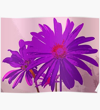 Violet Purple and Pink Floral Abstract Design Poster