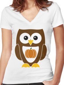 Brown Autumn Owl with Pumpkin Women's Fitted V-Neck T-Shirt