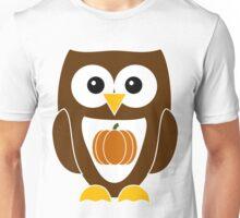 Brown Autumn Owl with Pumpkin Unisex T-Shirt