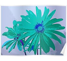 Painterly Flowers in Teal and Blue Pop Art Abstract Poster