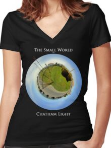 The Small World of Chatham Light Women's Fitted V-Neck T-Shirt