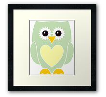 Light Green Owl with Yellow Heart Framed Print
