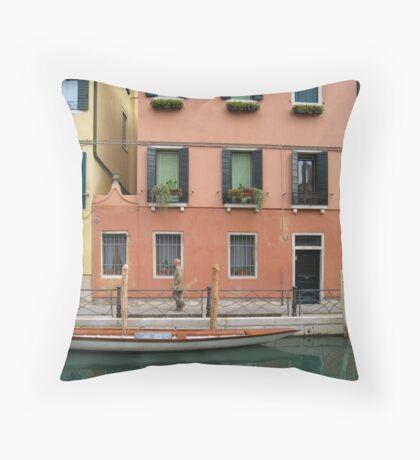 Venice canal scene. Throw Pillow