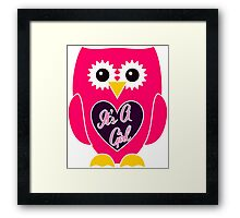 Pink Owl with Purple Heart - It's A Girl Framed Print