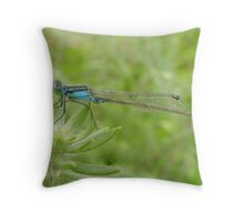 Skinny blue dragonfly Throw Pillow