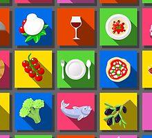 Twenty Five Square Flat Italian Food Icon  by aurielaki