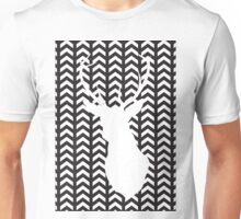 Black and White Silhouette Stag Art Unisex T-Shirt