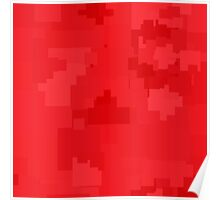Poppy Red Square Pixel Color Accent Poster