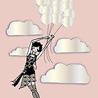 Floating Flapper Gatsby Girl in pink and pearl by CecelyBloom