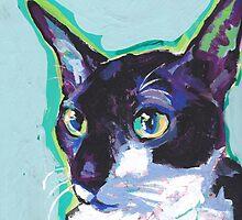 Cornish Rex Cat Bright colorful pop kitty art by bentnotbroken11