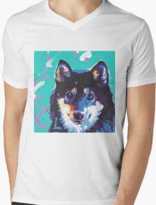 Shiba Inu Bright colorful pop dog art Mens V-Neck T-Shirt