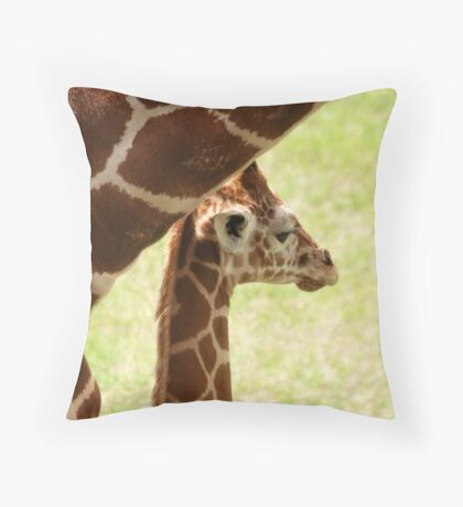 Under the safety of mothers neck Throw Pillow